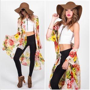 Jackets & Blazers - Floral Kimono Overlay Coverup